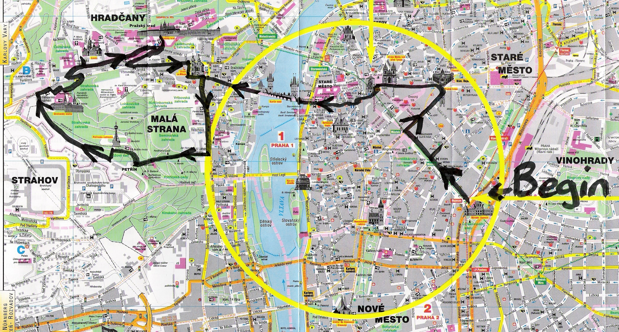 two days in prague - here is a map of the route for the first day